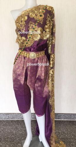 Lao Thai Traditional Wrap Pants Costume Wedding Dress Cosplay TuTu Dancewear Top