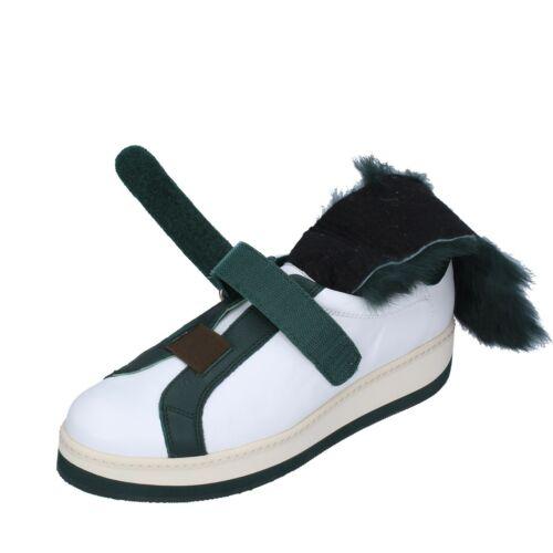schuhe damen MANUEL BARCELO sneakers weiß leder grün pelz BS331