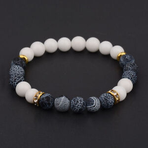 Charm-Natural-Lava-Stone-Gemstone-Beads-Buddha-Head-Lion-039-s-Head-Men-039-s-Bracelets