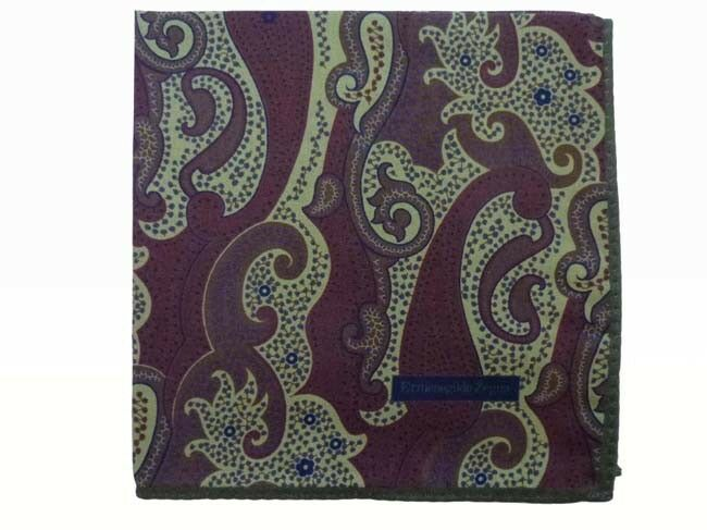 Zegna Pocket Square Muted brown & light olive paisley, pure silk