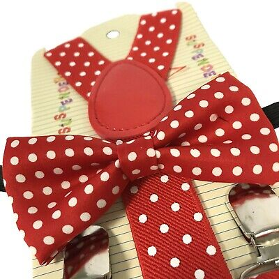 Red Polka Dots Suspender and Bow Tie Set for Baby Toddler Kids Boys Girls