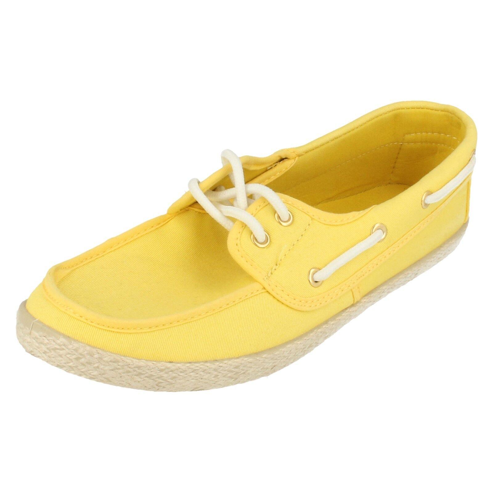 Mujer Plano Spot On Amarillo Lona Plano Mujer Zapato Cubierto 306798