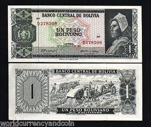 Image Is Loading Bolivia 1 Peso Boliviano P152 1962 Animal Aunc