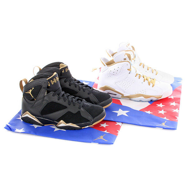 NIKE AIR JORDAN VII VI 6 7 goldEN MOMENT GMP gold MEDAL PACK US 8 DMP
