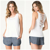 Bebe White Logo Drape Stripe Tank Top Shirt Large L