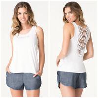Bebe White Logo Drape Stripe Tank Top Shirt Large L