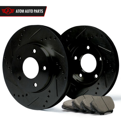 See Desc. 2006 2007 Fit Dodge Charger Black Slot Drill Rotor Ceramic Pads R
