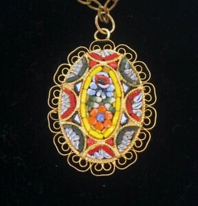 """Vintage Micro Mosaic Flower Floral Oval Gold Tone Pendant Necklace 24"""" Chain"""