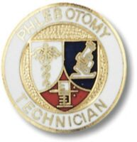 Phlebotomy Technician Lapel Pin Shield Gold Plated Medical Insignia Emblem