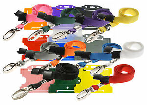 Safety-Neck-Strap-Lanyard-Lobster-Clip-AND-Badge-ID-Card-Holder-lot