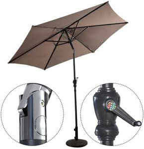 Details about 10-ft Patio Beach Portable Hand-Crank Lift Canopy Stably  Umbrella w Crank Tan