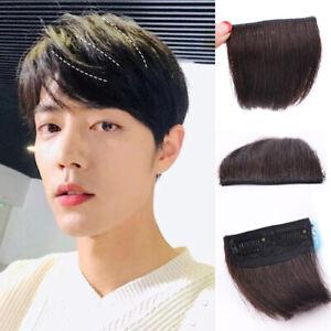 Men-Topper-Short-Hairpiece-Remy-Human-Hair-Clip-Hair-Extension-Cover-Loss-Hair