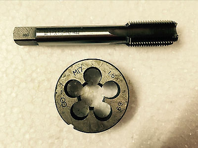 1pc M17 X 1.25mm Die and 1pc HSS Machine M17 X 1.25mm Plug Tap Threading Tool