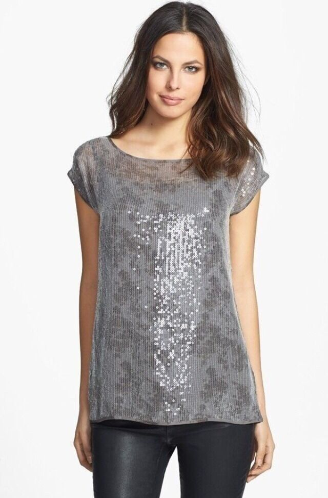 PL Eileen Fisher Rye Taupe Bateau Neck Short Sleeve Sequin Top New