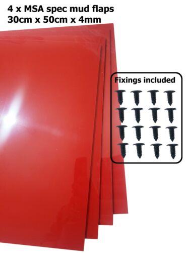 Las aletas de barro rojo Rally Motorsport 50cm X 30cm 4mm MSA Spec x4-Con Accesorios