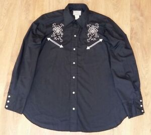 H-Bar-C-vintage-pearl-western-made-in-USA-black-mens-shirt-size-16-5-35-L-XL