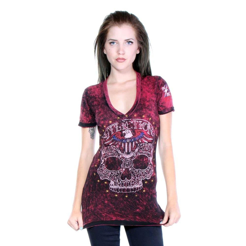 Affliction Woherren Dead Head Reversible V-neck T-shirt schwarz rot lava AW9584
