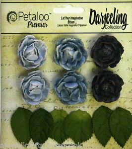 BLUE-6-Mini-GARDEN-ROSETTE-Paper-Flowers-25-30mm-amp-6-Leaves-Darjeeling-Petaloo