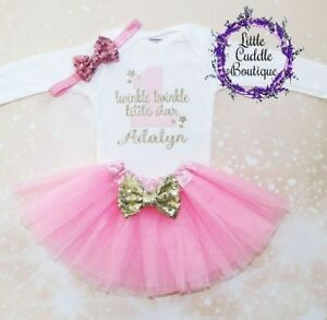 1ea8e6f8d Image is loading Personalized-Twinkle-Twinkle-Little-Star-First-Birthday -Outfit-