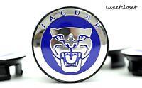 Jaguar (4) Pc 59mm Blue Wheel Center Hub Cap Caps Emblem Badge Cover C2d9611