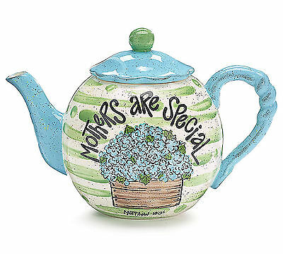 NEW Ceramic Hydrangea Teapot Mothers are Special 48 Oz Burton+Burton Gift