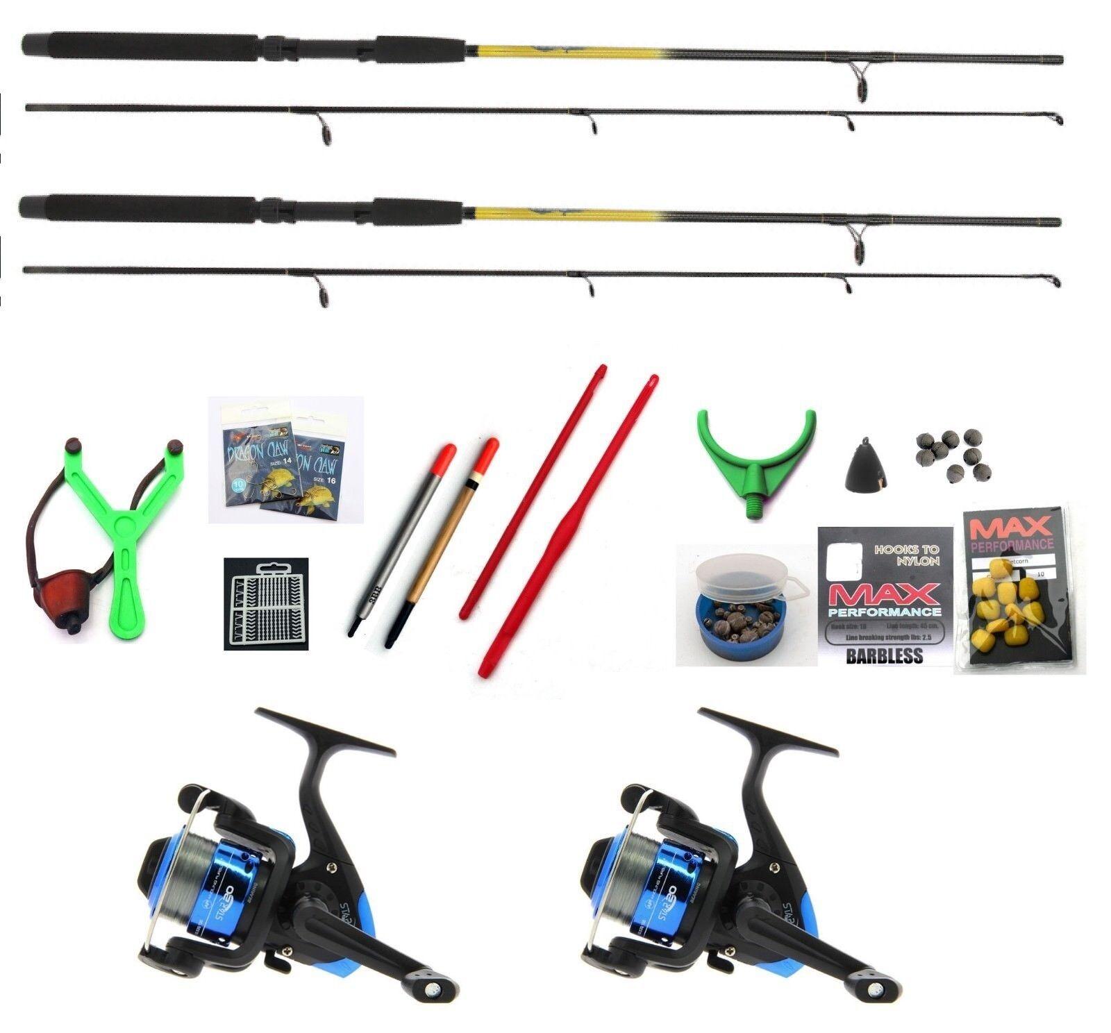 Fishing Kit , 2 x  Rods ,Reels Hooks Line floats Catapult etc 6 ft Sportstar