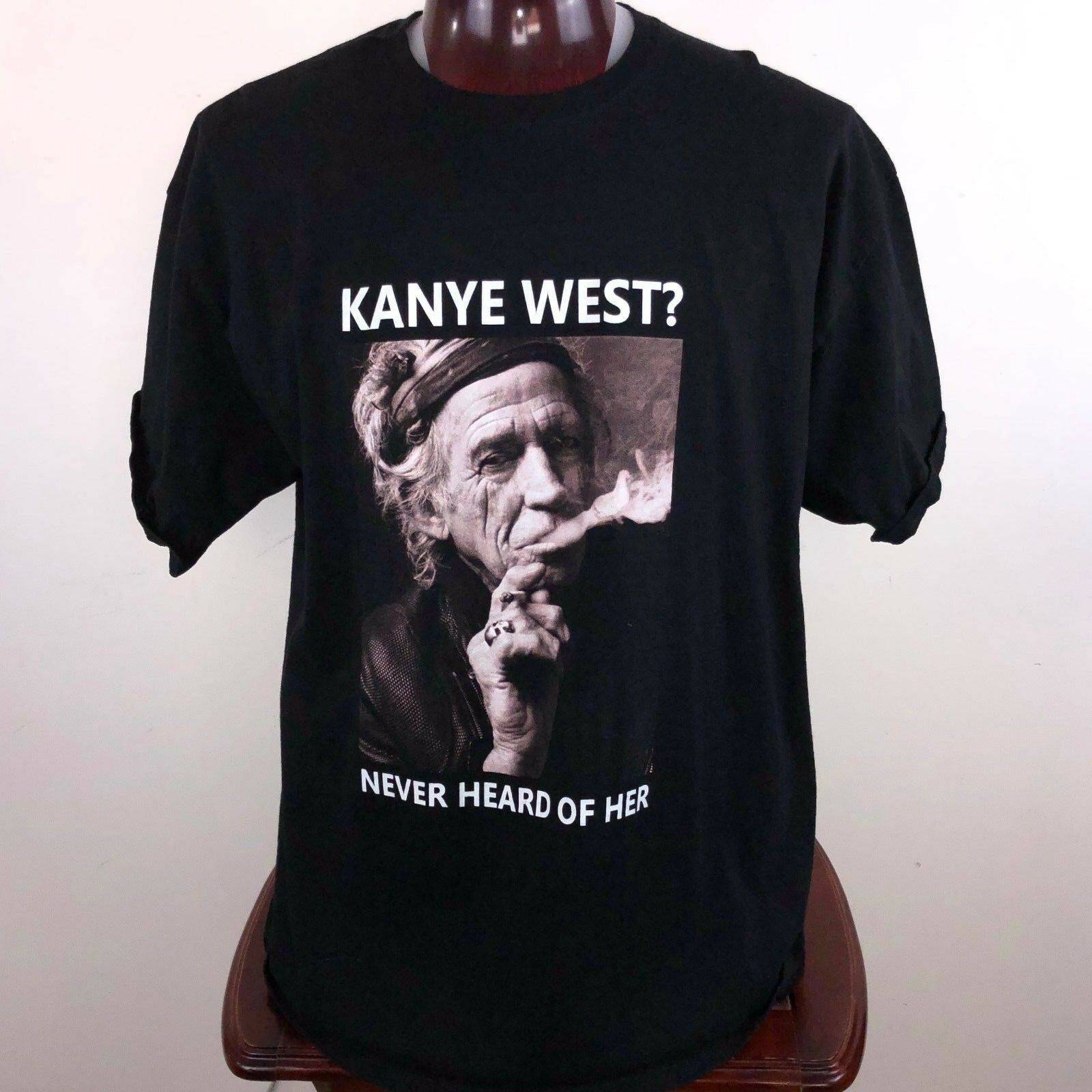 Kanye West Keith Richards Never Heard of Her Mens 2XL X