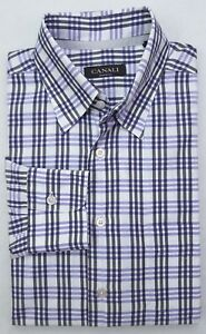 Canali-Shirt-Large-Checked-Multicolor-Black-Purple-White-Mens-Cotton-Italy-Sz-L