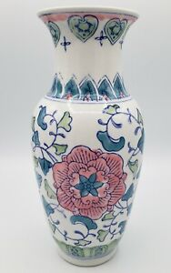 """Vintage Chinese Porcelain 10"""" Vase Handpainted with Blue, Green, & Pink Flowers"""