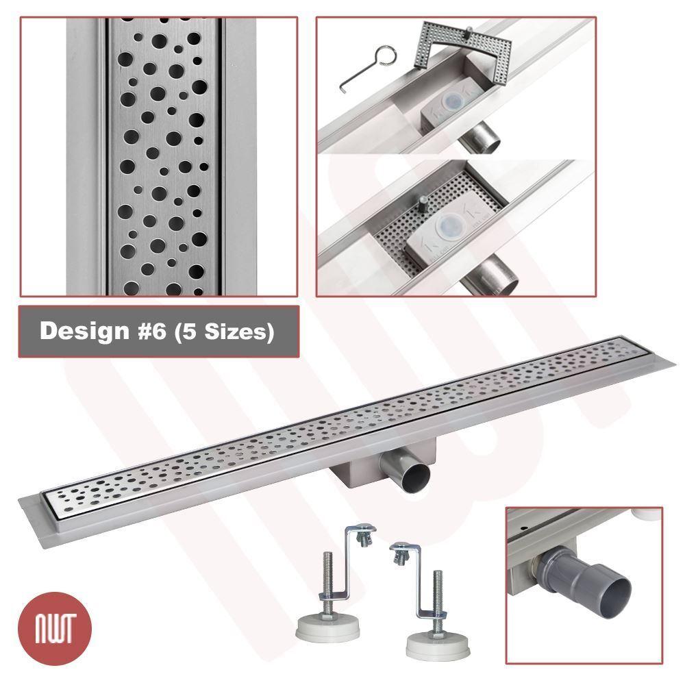 1000 mm long rectangulaire en acier inoxydable Linéaire Pièces humides Drain (Design 6)