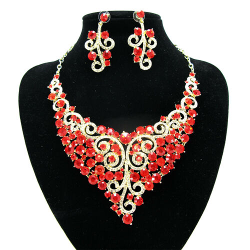 BRIDAL NECKLACE EARRING SET COLOUR STONE DRESS MATCHING BRIDESMAID JEWELLERY