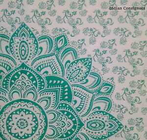 Tapestry-Wall-Hanging-Poster-40-30-Ethnic-Hippy-Throw-Green-Ombre-Mandala-Cotton
