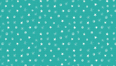 Festive Sketch Stars Christmas Fabric,Teal White, REMNANT 100% cotton,1495