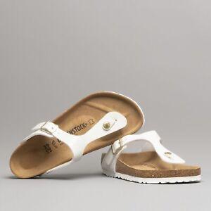 Ladies Toe Post Sandals Patent White
