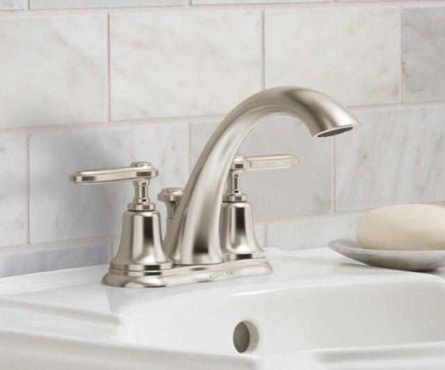 New Kohler Bellwood 4 Centerset Bathroom Faucet Brushed Nickel