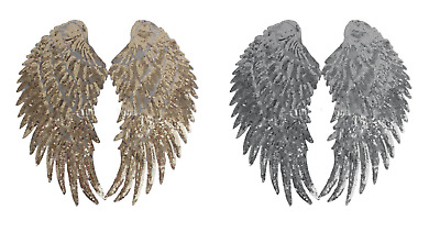 27x13cm PAILLETTEN FLÜGEL APPLIKATION BÜGELBILD SILBER WINGS PATCH ENGELSFLÜGEL