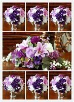 31pc Purple Wedding Bridal Bouquet,boutonniere,corsage Flowers Centerpiece