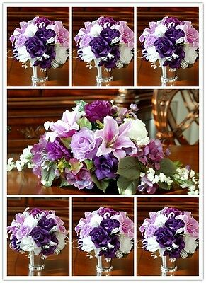 31pc purple Wedding Bridal bouquet,Boutonniere,Corsage flowers centerpiece