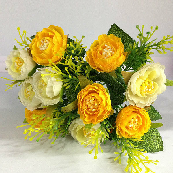 Artificial Faux Silk Yellow Flower Floral Bridal Bouquet Home Hotel Decor