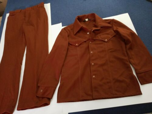 1970's  Burgundy Leisure Suit Men's, Bell Bottoms,