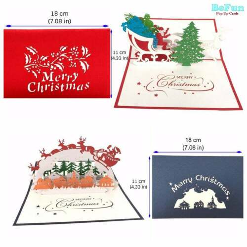 Love Pop Up Cards 10 Pcs 3D Greeting Christmas Invitation Kid Friend Mom Dad