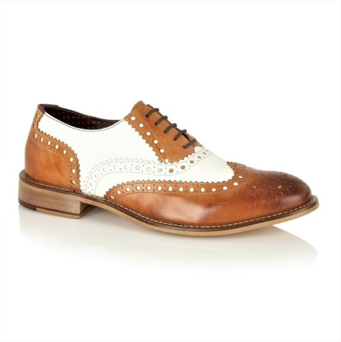 London Brogues Gatsby Mens Leather Wingtip Lace Up Brogues Two Tone Colour Shoes