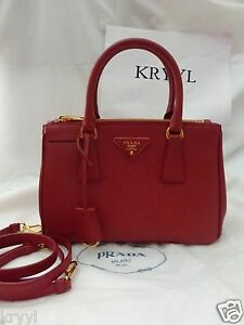 2b350682ad80 NWT Prada Saffiano Lux Double Zip Tote Shoulder Bag BN2316, Red ...