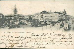 Ansichtskarte Mannheim paradeplatz mit Planken 1904 (Nr.933)