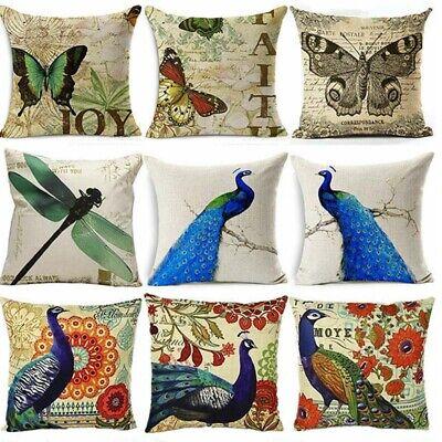 Peacock Fox Decoration Flower Cotton Linen Pillow Case Sofa Cushion Cover Home