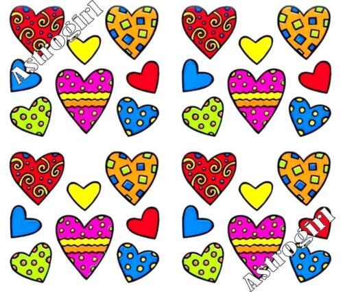 ~ Happy Hearts Love Decorated Bright Fun Friendship  Hambly Studio Stickers ~