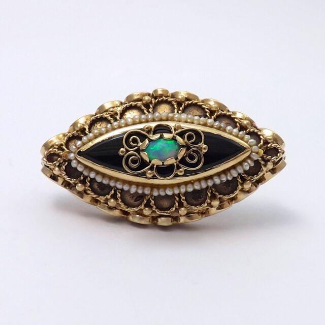 Art Nouveau 14k Gold Fiery Jelly Opal Onyx Strung Seed Pearl Brooch Pin 12.2gr