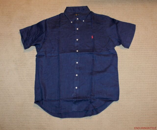 New Large Polo Ralph Lauren Mens Short Sleeve Button Down Linen Shirt Top Purple Men's Clothing Clothing, Shoes, Accessories