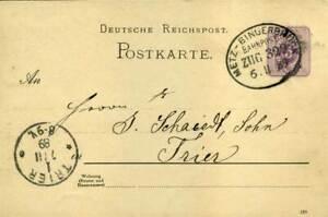 410305) Dr Ganzsache Avec Bahnpost Metz-bingerbrück 1889, Après Trêves-ck 1889, Nach Trierfr-fr Afficher Le Titre D'origine
