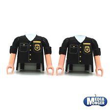 playmobil® 2 x Oberkörper mit Arme schwarz kurzärmlig | Sheriff | Polizei